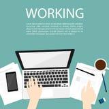 Wręcza use notatnikowi pracującego biznesowego odgórnego widoku wektor Zdjęcie Stock