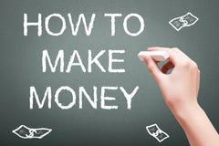 Wręcza writing z kredą dlaczego robić pieniądze obrazy stock