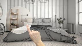 Wręcza wskazywać wewnętrznego projekta projekt, domu projekta szczegół mebluje pojęcie lub przemodelowywa, decydujący na pokojach ilustracja wektor