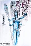 Wręczająca kobieta od planety pandory Błękitny avatar mężczyzna Elf dziewczyna jest bardzo piękna z tits i cztery rękami ilustracji