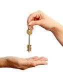 wręczający klucz Zdjęcie Royalty Free