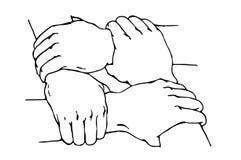 Wręczający uścisku dłoni przedstawienie wielka przyjaźń ilustracji