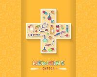 Wręcza patroszone atrament ikony dla medycyny i zdrowie Fotografia Royalty Free
