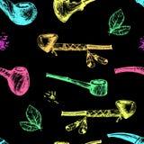 Wręcza patroszone wektorowe dymienie drymby, szkicowy rytownictwo styl Neonowy c Zdjęcie Stock