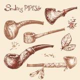 Wręcza patroszone wektorowe dymienie drymby, szkicowy rytownictwo styl Stary co Obrazy Royalty Free