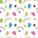 Wręcza patroszonego kolorowego bezszwowego wzór z balonami, kwiatami i r, Zdjęcia Royalty Free