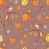 Wręcza patroszonego wektorowego bezszwowego wzór z Halloween elementami: kostium Fotografia Stock