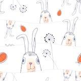 Wręcza patroszonego Wielkanocnego bezszwowego wzór w wektorowym formacie Obrazy Royalty Free