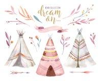 Wręcza patroszonej akwareli plemiennego teepee, odosobniony campsite namiot Boho Ameryka ornamentu tradycyjny rodzimy wigwam hind Zdjęcia Stock