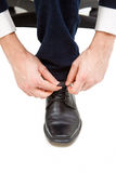 wręcza shoelace Zdjęcia Stock