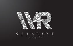 WR W R Letter Logo with Zebra Lines Texture Design Vector. vector illustration