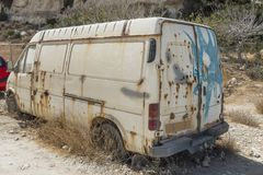 Wrack car in Matala. Old car wrack in Matala Village , Crete, Greece, Europe Stock Image