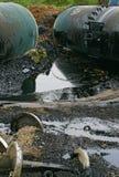 Wrack der Öltanks Stockfotografie