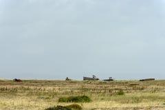Wracke auf Küste bei Dungedness Stockbild