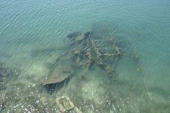 Wracke unter Meer Stockfoto