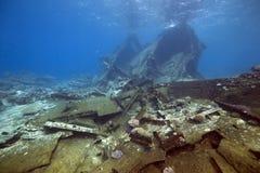 Wrackfrachter Kormoran - sank Tiran 1984 Stockfotografie