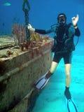 Wrak en duiker Stock Afbeeldingen