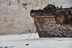 Wrak na plażowym Navagio obraz stock