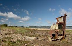 Wrak van boot op Studland-Dopheide dichtbij Swanage op de Kust van Dorset stock afbeelding