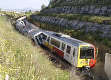 Wrak 006 van de treinontsporing stock afbeelding