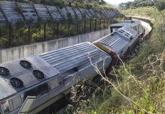 Wrak 007 van de treinontsporing stock fotografie