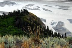 Alaska- Overview of the Shoreline and Mud Flats of the Copper Ri. Wrangell-St. Elias National Park, Alaska- Scenic panoramic overview of the shoreline, forests stock photo