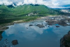 Aerial view of the Root Glacier and Wrangell St Elias National Park. Wrangell St Elias National Park in Alaska during the summer royalty free stock photo