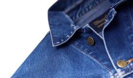 Wrangler della giacca blu isolato su fondo bianco Immagini Stock Libere da Diritti