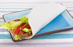 Wrap. Spicy chicken with salad wrapped in a soft flour tortilla, composed with plate and background cloth Royalty Free Stock Photo