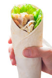 Wrap chicken in hand Stock Photography