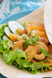 Wrap with Chicken in sweet and sour sauce Stock Photo