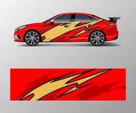 Free Wrap Design For Custom Sport Car. Sport Racing Car Wrap Decal And Sticker Design Royalty Free Stock Image - 186913286