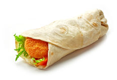 Wrap with fried chicken and vegetables Royalty Free Stock Photos