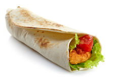 Wrap with fried chicken and vegetables Royalty Free Stock Photo