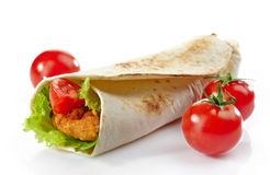 Wrap with fried chicken and vegetables Royalty Free Stock Image