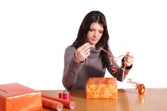 Wrap gifts Stock Photography