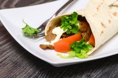Wrap with meat Royalty Free Stock Photography