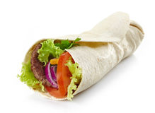Wrap with meat and vegetables Stock Photo