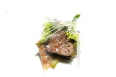 This is a wrap Nam Neung. Food ingredients and procedures vietnamese Meatball Wraps Nam Neung with rice paper rolls royalty free stock images