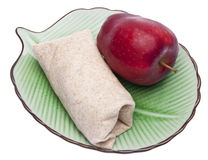 Wrap on a Plate with Apple Royalty Free Stock Photo