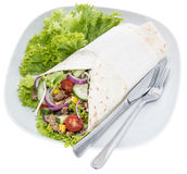 Wrap on a plate isolated on white Royalty Free Stock Images