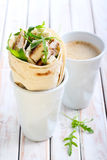Wrap roll with chicken, rocket and cheese Stock Photos
