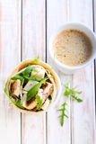Wrap roll with chicken, rocket and cheese Royalty Free Stock Photo