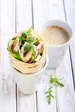 Wrap roll with chicken, rocket and cheese Stock Photography