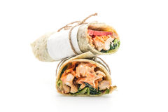 Wrap salad roll with chicken and spinach Stock Image