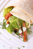 Wrap sandwich. With soy meat and lettuce Stock Images