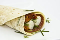 Wrap sandwich. With salami, cheese, sundried tomato and heart of palm stock images