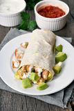 Wrap sandwich with chicken meat Stock Images