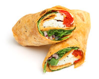 Wrap Sandwich with Feta Cheese & Peppers Royalty Free Stock Photo