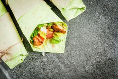 Wrap sandwich with green tortillas Stock Images